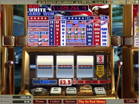 Red White and Win WGS Technology Progressive Jackpot Slot