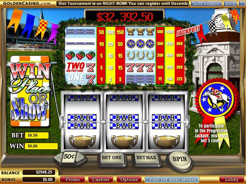 Win Place or Show WGS Technology Progressive Jackpot Slot