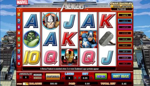 The Avengers CryptoLogic Progressive Jackpot Slot